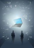 Les gens d'affaires de silhouette de groupe considèrent le procédé de séance de réflexion illustration stock