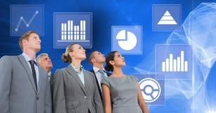 Les gens d'affaires groupent avec des icônes de statistique de graphique de gestion Image stock