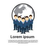 Les gens d'affaires groupent, des hommes d'affaires Team Over World Map Background Photographie stock