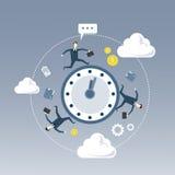 Les gens d'affaires groupent la rotation autour du concept de gestion du temps de date-butoir de réveil illustration libre de droits