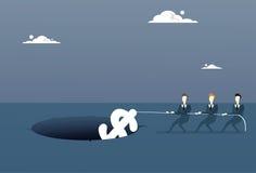 Les gens d'affaires groupent tirer le dollar de la croissance de trou après concept économique de crise d'échouer Photo stock