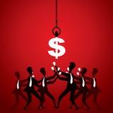 Les gens d'affaires luttent pour l'argent (le dollar) illustration stock