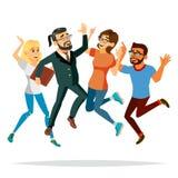 Les gens d'affaires sautant le vecteur Célébration de Victory Concept accomplissement Accomplissement objectif, accomplissement D illustration stock