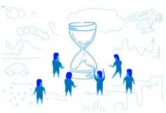 Les gens d'affaires se tenant au croquis horizontal de stratégie de séance de réflexion de travail d'équipe de concept de gestion illustration de vecteur