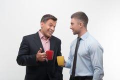 Les gens d'affaires supérieurs et juniors discutent Image libre de droits