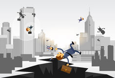 Les gens d'affaires tombent vers le bas rue de trou financière illustration libre de droits