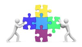 les gens 3d avec des puzzles partenariat illustration de vecteur