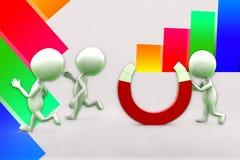les gens 3d courant à partir de l'illustration d'aimant Image libre de droits