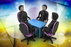 les gens 3d lors de la réunion d'affaires Image stock