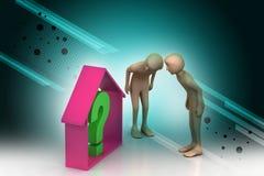 les gens 3d regardant l'entreprise immobilière avec le point d'interrogation Photo stock