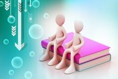 les gens 3d s'asseyant sur les livres Images stock