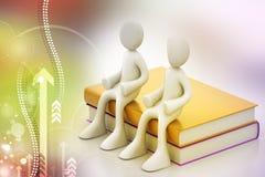 les gens 3d s'asseyant sur les livres Images libres de droits