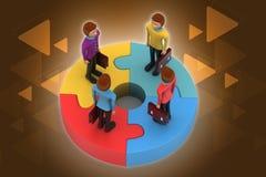 les gens 3d se tenant sur des puzzles Image stock