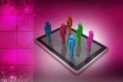les gens 3d se tenant sur la tablette Photos libres de droits