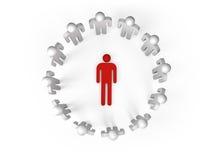les gens 3d se tiennent en anneau avec une personne menteuse Image stock