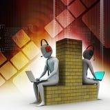 les gens 3d travaillant dans l'ordinateur portable Image stock