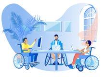 Les gens dans des fauteuils roulants travaillent l'appartement en ligne de bande dessinée illustration de vecteur