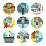 Les gens dans des icônes de supermarché illustration stock