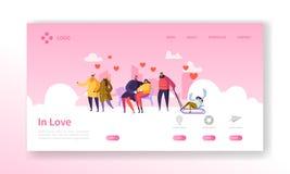 Les gens dans l'amour à la page d'atterrissage de saison d'hiver Bannière de jour de valentines avec les caractères et les coeurs illustration stock