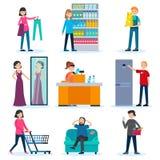 Les gens dans l'ensemble de boutique illustration stock