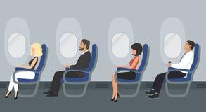 Les gens dans la cabine d'aéronefs Les passagers de ligne aérienne s'asseyent dans les chaises bleues illustration stock