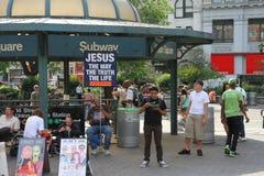 Les gens dans la place d'Unione à New York Images libres de droits