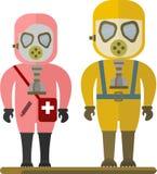 Les gens dans le masque de gaz Photo libre de droits