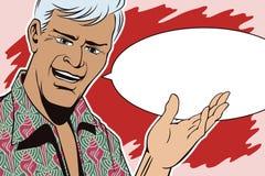 Les gens dans le rétro art de bruit de style et la publicité de vintage L'homme fait le geste de invitation Photos libres de droits
