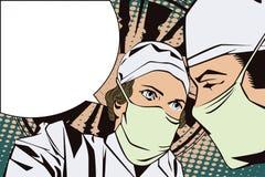 Les gens dans le rétro art de bruit de style et la publicité de vintage Les médecins dans la salle d'opération Photographie stock libre de droits