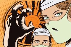 Les gens dans le rétro art de bruit de style et la publicité de vintage Les médecins dans la salle d'opération illustration stock