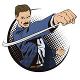 Les gens dans le rétro style L'homme bat son poing illustration de vecteur