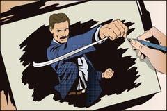 Les gens dans le rétro style L'homme bat son poing illustration stock