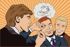 Les gens dans le rétro style L'homme raconte l'histoire drôle aux amis illustration de vecteur