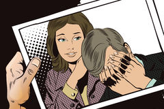 Les gens dans le rétro style La femme calme l'homme bouleversé illustration libre de droits