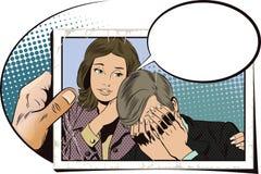 Les gens dans le rétro style La femme calme l'homme bouleversé illustration de vecteur