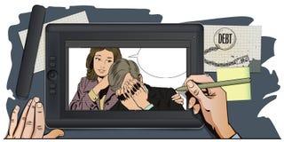 Les gens dans le rétro style La femme calme l'homme bouleversé illustration stock