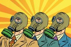 Les gens dans le style d'art d'ivrognes de masques de gaz illustration de vecteur