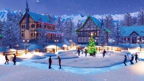 Les gens dansent près de l'arbre de Noël décoré extérieur illustration stock