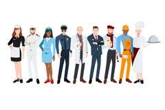 Les gens de différentes professions Domestique, capitaine, hôtesse, policier, docteur, homme d'affaires, peintre, constructeur, c illustration de vecteur
