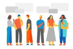 Les gens discutent le réseau social, nouvelles, réseaux sociaux, causerie, apprenant des langues étrangères Illustration de vecte illustration de vecteur