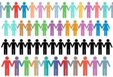 Les gens divers de symbole de lignes de cadre retiennent des mains Photo libre de droits
