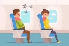 Les gens dorment sur l'avion illustration libre de droits