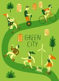Les gens employant le transport vert personnel Image stock
