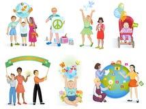 Les gens en monde de vecteur de paix badinent sur terre de planète et l'ensemble paisible d'illustration terrestre mondiale d'ami illustration stock