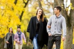 Les gens en parc d'automne Images stock