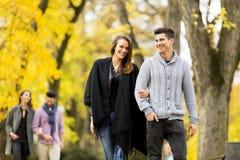 Les gens en parc d'automne Photographie stock libre de droits