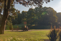 Les gens en parc près de lac Photo stock