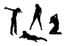 Les gens en silhouettes de mouvement ont placé 4 Image libre de droits