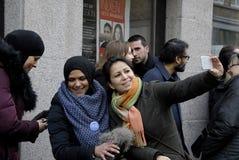 Les gens enchaînent pour des juifs au Danemark Photographie stock libre de droits