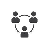 Les gens entourent, groupe de vecteur d'icône d'utilisateurs, signe plat rempli, pictogramme solide d'isolement sur le blanc Symb illustration de vecteur